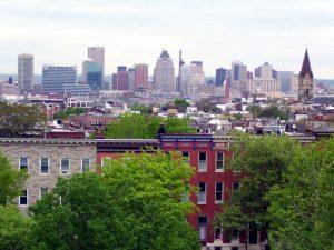 Baltimore rowhouses and skyline